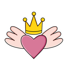 heart love with wings and crown pop art style vector image