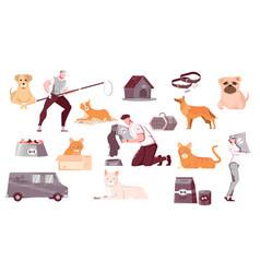 Homeless animals flat set vector