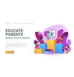 immunization education concept landing page vector image