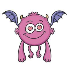 in love purple flying cartoon bat monster vector image