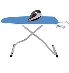 Ironing board and iron vector image