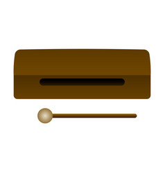 Isolated wood block musical instrument vector