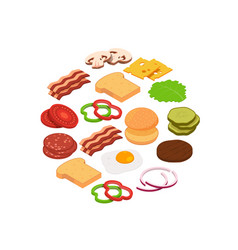 isometric burger ingredients in circle vector image