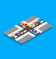 isometric crossroads traffic jam on street vector image