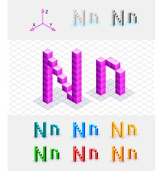 Isometric font from the cubes Letter N vector image