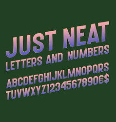 Just neat alphabet and numbers with currency vector