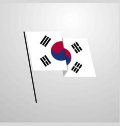 Korea south waving flag design background vector