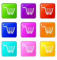 Large shopping trolley icons 9 set vector