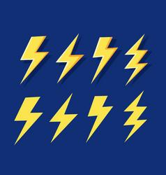 lightning flat set thunderbolts on dark vector image
