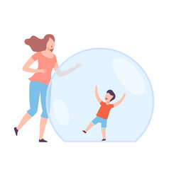 Little boy having fun inside transparent vector