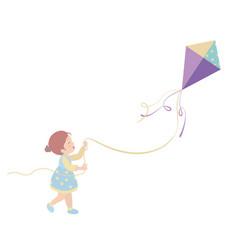 Little girl cartoon character on white background vector