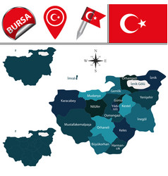 Map of bursa turkey with districts vector
