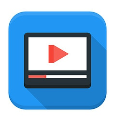 Media play app icon with long shadow vector image