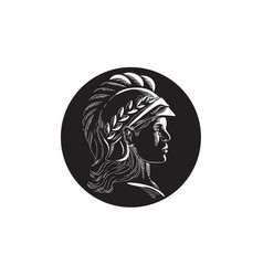 Minerva head side profile oval woodcut vector