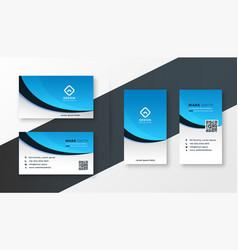 Modern blue wavy business card template design vector
