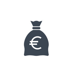 money bag with euro related glyph icon vector image