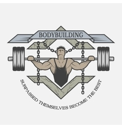 Motivational emblem of bodybuilding vector image