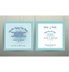 nautical anchor rope tying knot wedding card vector image