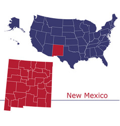 new mexico map counties with usa map vector image