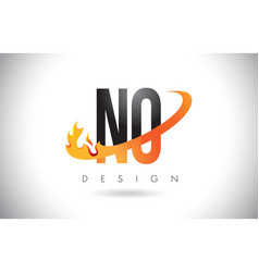 No n o letter logo with fire flames design and vector