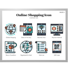 Online shopping icons linecolor pack vector
