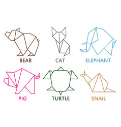 origami animals collection vector image
