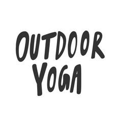 Outdoor yoga sticker for social media content vector