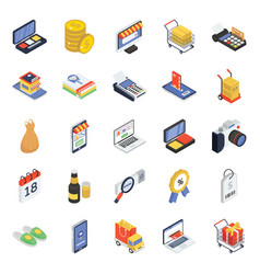 Pack online shopping isometric icons vector