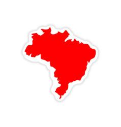 Paper sticker brazilian on white background vector
