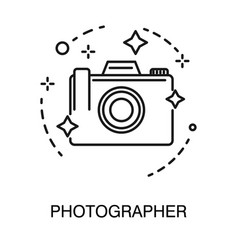 Photo camera isolated outline icon photographer vector