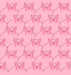 Pig seamless pattern piglet background farm vector