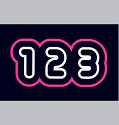 Pink white blue number 123 logo company icon vector