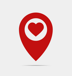 pointer gps map with heart vector image