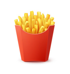 Potatoes french fries in red carton package vector