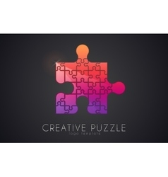 Puzzle logo Creative logo of puzzle pieces Color vector