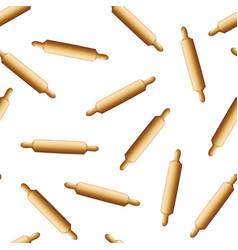 realistic detailed 3d wooden rolling pin seamless vector image
