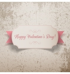 Realistic Valentines Day greeting paper Card vector image