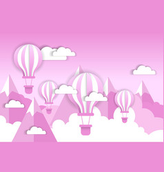 Retro air balloon over pink clouds and mountains vector