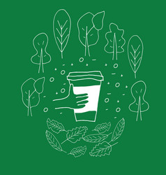 Reusable cup among treas and leaves vector