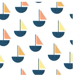 Seamless pattern boats vintage screen vector