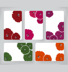 set of hibiscus flowers and brochures design vector image