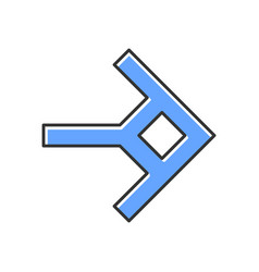Shaped blue arrow color icon navigation arrowhead vector