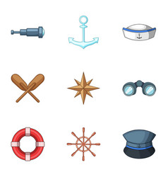 shipping captain icons set cartoon style vector image