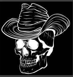 silhouette cowboy skull vector image