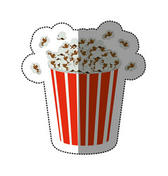 Silhouette sticker of popcorn container vector
