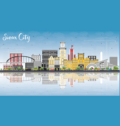 Sioux city iowa skyline with color buildings blue vector