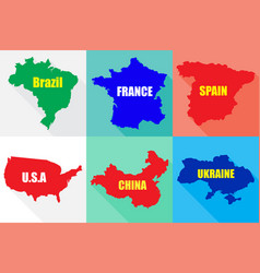 six countries in flat on different backgrounds vector image