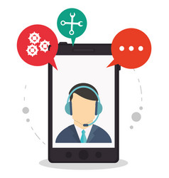 Smartphone call center assistance talking vector