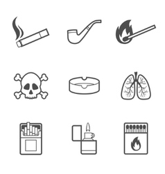 Smoking line style icons set 9 elements vector image