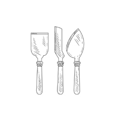 Three Special Knives For Cheese Hand Drawn vector